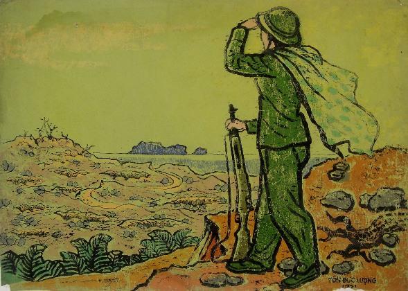 Giao ca - bộ ký họa mỏ than Cổ Kênh, Chí Linh, Hải Dương, họa sĩ Tôn Đức Lượng. 27/1/1967. Bút sắt. 36x46cm